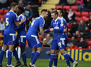 Ipswich striker Freddie Sears celebrating with Ipswich defender and captain Luke Chambers during the Sky Bet Championship match between Charlton Athletic and Ipswich Town at The Valley, London, England on 28 November 2015. Photo by Matthew Redman.