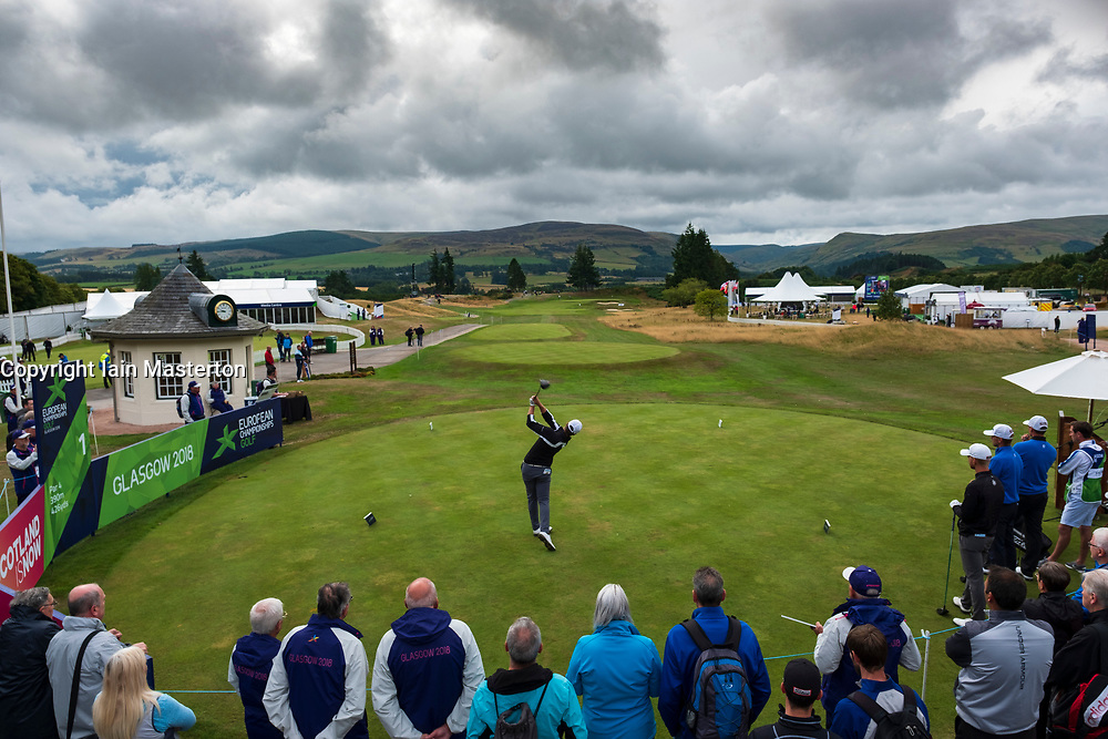 Gleneagles, Scotland, UK; 10 August, 2018.  Day three of European Championships 2018 competition at Gleneagles. Men's and Women's Team Championships Round Robin Group Stage. Four Ball Match Play format.  Pictured; Norway's Kristian Krogh Johannessen tees off on 1st tee in match against Norway.