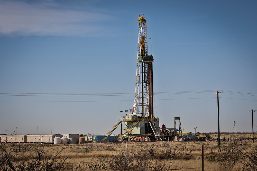 Rigs in the Permain basin just outside of Pecos on Jan, 13, 2020.