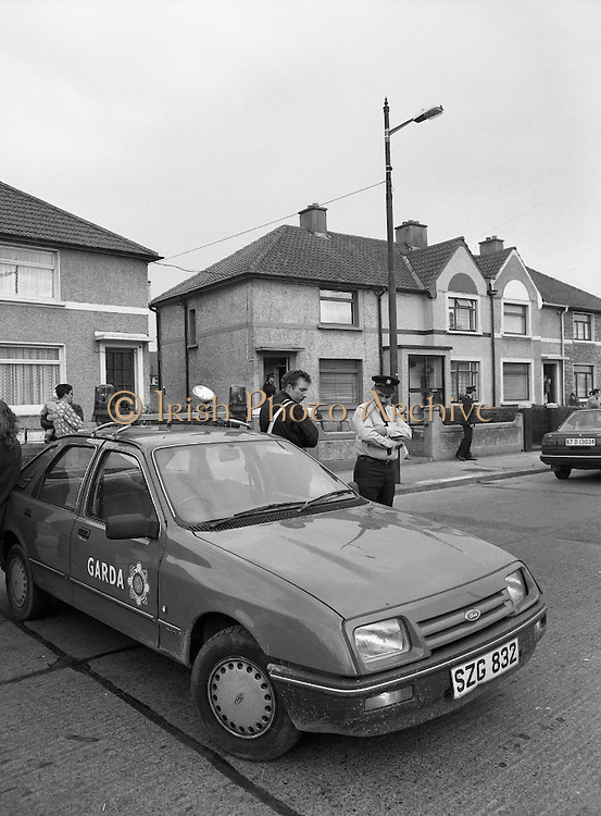 "John O'Grady Rescued By Gardai.   (R67)..1987..05.11.1987..11.05.1987..5th November 1987..After being kidnapped from his home in Cabinteely, Co Dublin, John O'Grady was finally rescued after twenty one days in captivity. he was located in a house inCarnlough Road, Cabra West, Dublin. During his ordeal Mr O""Grady was mutilated by the kidnappers led by Dessie O'Hare to apply pressure on his family to pay the ransom sought. In an ensuing gun battle with the kidnappers a detective garda was shot and seriously wounded. In the chaos that followed the kidnappers escaped and were not all captured for a further three weeks after a massive manhunt...A garda car blocks off Carnlough Road after the gun battle to free John O'Grady."
