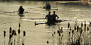 2005 GB Rowing Senior Trails, Hazenwinkel, BELGIUM; Tuesday 12.04.2005, Men's Pairs leave the boating area, to compete in the Final of the men's coxless pair on the second day of the GB Rowing Seniors Trails...Photo  Peter Spurrier. .email images@intersport-images... GB Senior Rowing Trails, Rowing Course, Bloso, Hazewinkel. BELGUIM