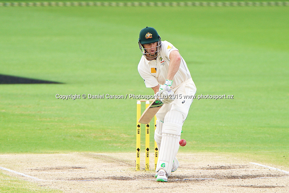 Adam Voges of Australia follow the ball onto the bat during Day 5 on the 17th of November 2015. The New Zealand Black Caps tour of Australia, 2nd test at the WACA ground in Perth, 13 - 17th of November 2015.   Photo: Daniel Carson / www.photosport.nz
