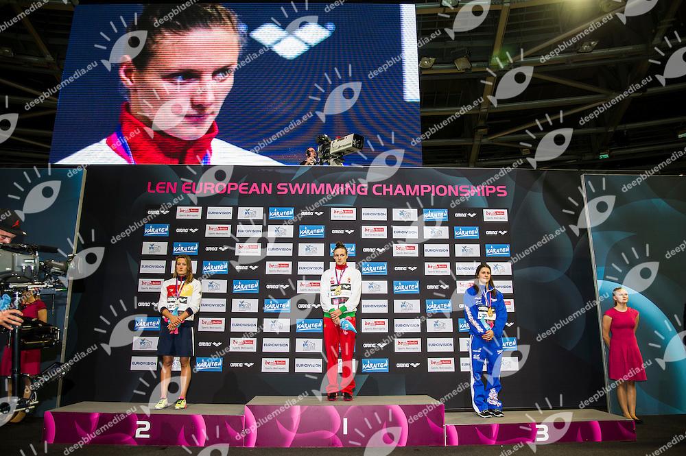 BELMONTE GARCIA Mireia ESP Silver Medal (L)<br /> HOSSZU Katinka HUN Gold Medal<br /> WILLMOTT Aimee GBR Bronze Medal<br /> 400m Medley Women Final<br /> 32nd LEN European Championships <br /> Berlin, Germany 2014  Aug.13 th - Aug. 24 th<br /> Day06 - Aug. 18<br /> Photo G. Scala/Deepbluemedia/Inside