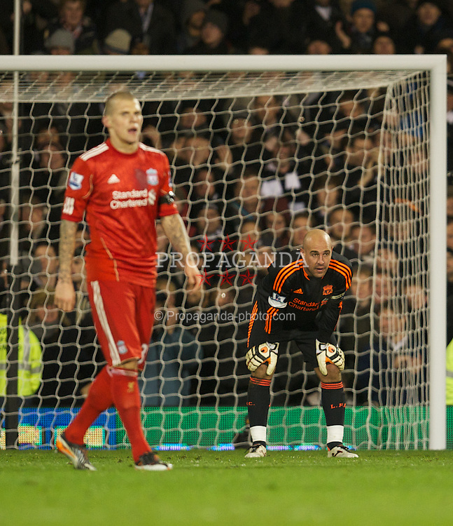 LONDON, ENGLAND - Monday, December 5, 2011: Liverpool's goalkeeper Jose Reina looks dejected as Fulham score a late winning goal during the Premiership match at Craven Cottage. (Pic by David Rawcliffe/Propaganda)