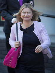 © Licensed to London News Pictures. 09/10/2016. London, UK. Secretary of State for Education Justine Greening leaves the ITV studios after appearing on ITV's Peston on Sunday show. Photo credit: Peter Macdiarmid/LNP