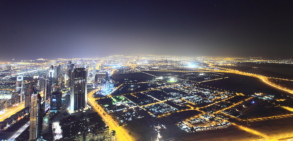 Dubai Cityscape - A view of the city of Dubai in UAE from the 130th floor of the Burj.