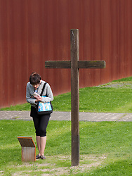 Commemorative Cross of the Sophien Parish within recreated Death Strip at new Berlin Wall Memorial on Bernauer Strasse in Berlin