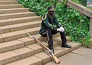 A GUARD TAKES A REST AT UNION BUILDINGS, PRETORIA, SOUTH AFRICA.