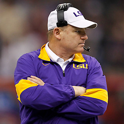 Jan 9, 2012; New Orleans, LA, USA; LSU Tigers head coach Les Miles against the Alabama Crimson Tide during the first half of the 2012 BCS National Championship game at the Mercedes-Benz Superdome.  Mandatory Credit: Derick E. Hingle-US PRESSWIRE