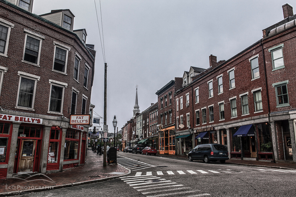 Market Street in downtown Portsmouth, New Hampshire.
