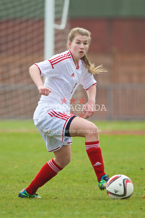 NEWPORT, WALES - Monday, April 4, 2016: Wales' Alice Griffiths in action against Scotland during Day 4 of the Bob Docherty International Tournament 2016 match at Newport Stadium. (Pic by David Rawcliffe/Propaganda)
