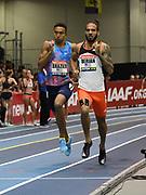 Feb 10, 2018; Boston, Massachussetts, USA; Donavan Brazier (USA), left, defeats Boris Berian (USA) to win the 800m in 1:45.11 during the New Balance Indoor Grand Prix at Reggie Lewis Center.