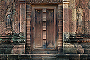 Detail on main gate Banteay Srie Angkor Cambodia