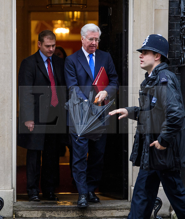 © Licensed to London News Pictures. 08/03/2017. London, UK. Defence secretary MICHAEL FALLON leaves Downing Street following a cabinet meeting before British chancellor Philip Hammond delivers his 2017 Budget to Parliament. Photo credit: Ben Cawthra/LNP