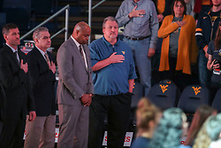 Nov 24, 2018; Morgantown, WV, USA; West Virginia Mountaineers head coach Bob Huggins pauses for the National Anthem before their game against the Valparaiso Crusaders at WVU Coliseum. Mandatory Credit: Ben Queen-USA TODAY Sports