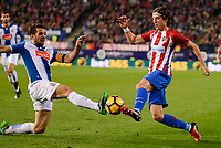 Atletico de Madrid's player Filipe Luis and RCD Espanyol player David Lopez during match of La Liga between Atletico de Madrid and RCD Espanyol at Vicente Calderon Stadium in Madrid, Spain. December 03, 2016. (ALTERPHOTOS/BorjaB.Hojas)