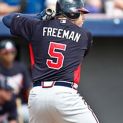March 4, 2011; Viera, FL, USA; Atlanta Braves first baseman Freddie Freeman (5) during a spring training exhibition game against the Washington Nationals at Space Coast Stadium.  Mandatory Credit: Derick E. Hingle