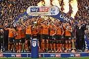 Wolverhampton Wanderers players celebrate winning the Championship title during the EFL Sky Bet Championship match between Wolverhampton Wanderers and Sheffield Wednesday at Molineux, Wolverhampton, England on 29 April 2018. Picture by Alan Franklin.