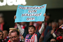 May 3, 2018 - Madrid, Spain - SUPPORTERS of Atletico de Madrid holds aloft a sign that read in french ''Griezmann your shirt please'' during the UEFA Europa League, semi final, 2nd leg football match between Atletico de Madrid and Arsenal FC on May 3, 2018 at Metropolitano stadium in Madrid, Spain (Credit Image: © Manuel Blondeau via ZUMA Wire)