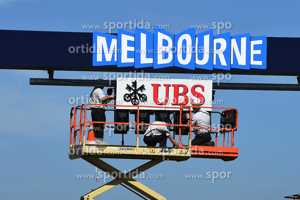 11.03.2015, Albert Park Circuit, Melbourne, AUS, FIA, Formel 1, Grand Prix von Australien, Vorberichte, im Bild UBS sign being attached to the start lights // during Preparations for the FIA Formula One Grand Prix of Australia at the Albert Park Circuit in Melbourne, Australia on 2015/03/11. EXPA Pictures &copy; 2015, PhotoCredit: EXPA/ Sutton Images/ Mark Images<br /> <br /> *****ATTENTION - for AUT, SLO, CRO, SRB, BIH, MAZ only*****