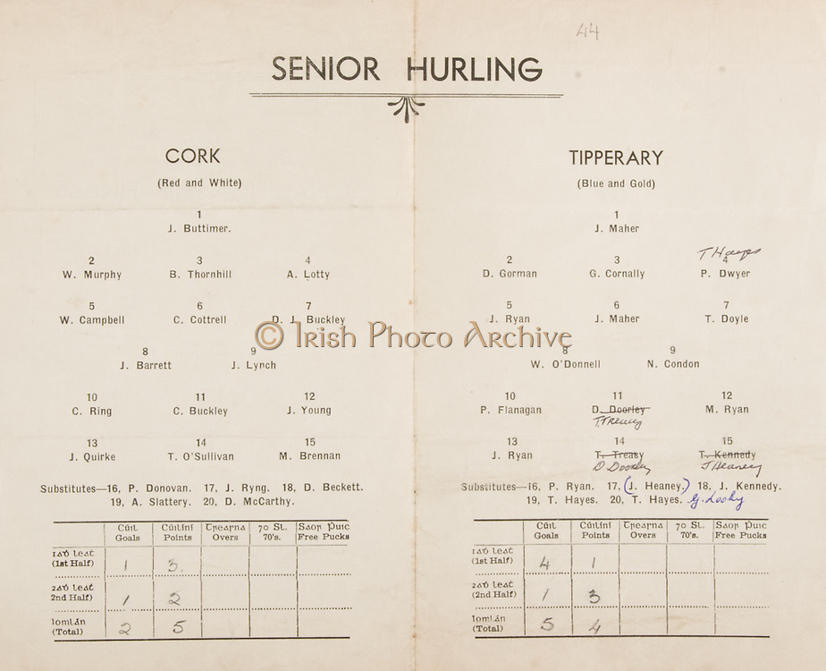 Munster Senior and Minor Hurling Championship Final, held at Croke Park, Dublin, Ireland..26101941MMHCF..26.10.1941, 10.26.1941, 26th October 1941, ..Senior Cork v Tipperary,.Cork,.J Buttimer, W Murphy, B Thornhill, A Lotty, W Campbell, C Cottrell, D J Buckley, J Barrett, J Lynch, C Ring, C Buckley, J Young, J Quirke, T O'Sullivan, M Brennan, .Subs, P Donavan, J RIng, D Beckett, A Slattery, D McCarthy, ..Tipperary, .J Maher, D Gorman, G Cornally, P Dwyer, J Ryan, J Maher, T Doyle, W O'Donnell, N Condon, P Flanagan, T Treacy, M Ryan, J Ryan, D Doorley, J Hearney, .Subs, P Ryan, J Heaney, J Kennedy, T Hayes, T hayes, G Looky, who won the all ireland hurling final,<br />