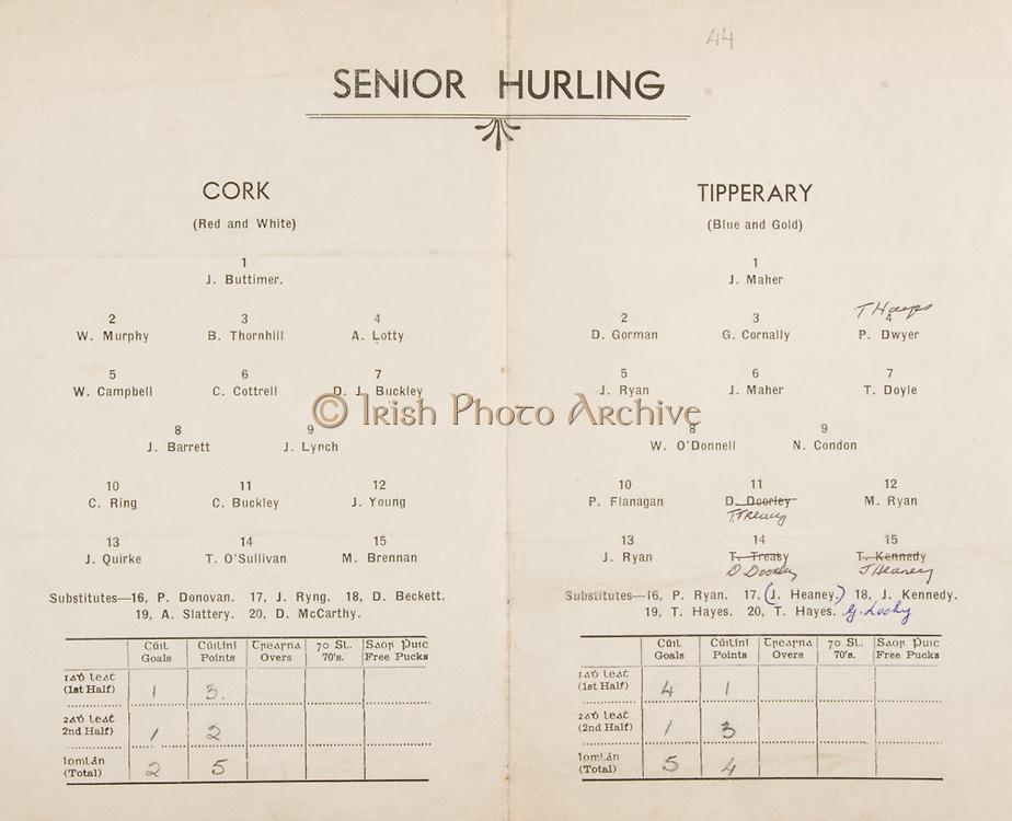 Munster Senior and Minor Hurling Championship Final, held at Croke Park, Dublin, Ireland..26101941MMHCF..26.10.1941, 10.26.1941, 26th October 1941, ..Senior Cork v Tipperary,.Cork,.J Buttimer, W Murphy, B Thornhill, A Lotty, W Campbell, C Cottrell, D J Buckley, J Barrett, J Lynch, C Ring, C Buckley, J Young, J Quirke, T O'Sullivan, M Brennan, .Subs, P Donavan, J RIng, D Beckett, A Slattery, D McCarthy, ..Tipperary, .J Maher, D Gorman, G Cornally, P Dwyer, J Ryan, J Maher, T Doyle, W O'Donnell, N Condon, P Flanagan, T Treacy, M Ryan, J Ryan, D Doorley, J Hearney, .Subs, P Ryan, J Heaney, J Kennedy, T Hayes, T hayes, G Looky, who won the all ireland hurling final,<br /> <br /> when is the hurling all ireland final,<br /> <br /> when is the all ireland final,<br /> <br /> what is hurling in Ireland,