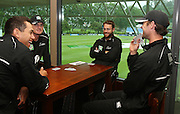 L_R Ross Taylor, Kyle Mills and Daniel Vettori and James Franklin play cards in the long room as the weather stops play on day 5. New Zealand v West Indies, First Test Match, National Bank Test Series, University Oval, Dunedin, Monday 15 December 2008. Photo: Andrew Cornaga/PHOTOSPORT
