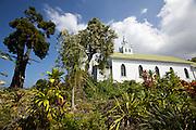 Famous St. Benedict's Painted Church overlooking Kealakekua Bay.