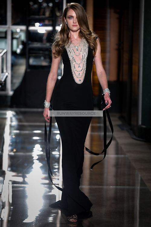 Vlada Roslyakova walks the runway wearing Reem Acra Bridal Spring 2018