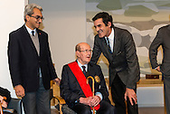 "Movie director Manoel de Oliveira in the ceremony where he receives de distinction of ""Grand Officier de la Légion d'Honneur"" by the French Ambassador in Portugal, Jean-François Blarel (here accompanied by State Secretary of Culture Jorge Barreiro Xavier (left) and Oporto's mayor Rui Moreira (right)"