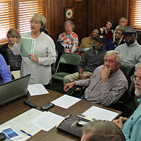 Tombigbee Regional Library System Director Tanna Taylor leads a slideshow to explain funding for Monroe County's five libraries and for the entire system as part of last week's board of supervisors meeting.