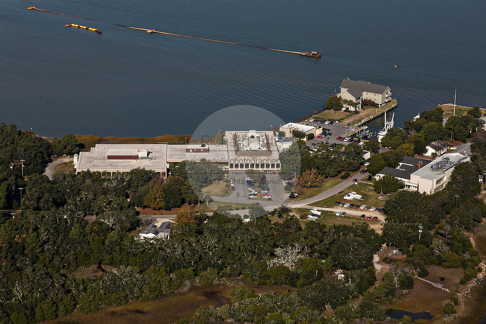 Aerial view of Fort Johnson now the NOAA Hollings Marine Laboratory in Charleston, SC.