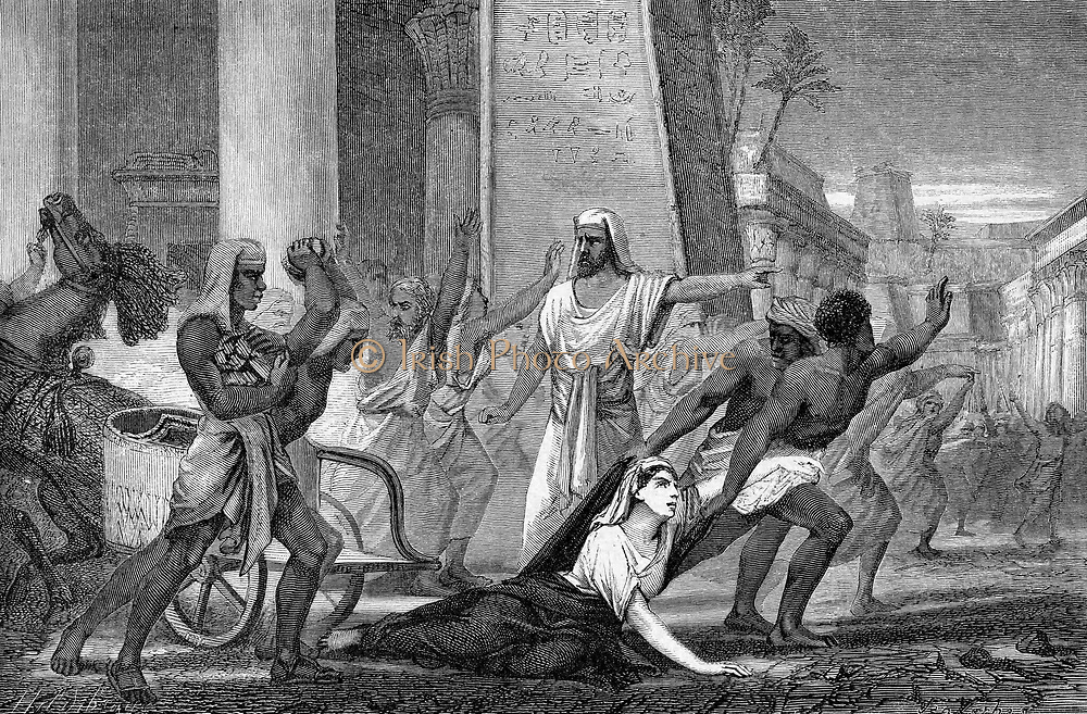 Hypatia (c370-415) mathematician and philosopher (Neoplatonist) murdered by followers of Cyril, Patriarch of Alexandria. Mid-19th century artist's reconstruction. Wood engraving.
