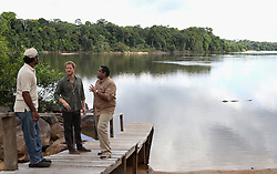 Prince Harry sees a caiman as he visits the Iwokrama International Centre in the Hinterland on day 13 of an official visit to the Caribbean in Sumara, Guyana.
