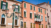 Lamp post and houses, Venice, Veneto, Italy