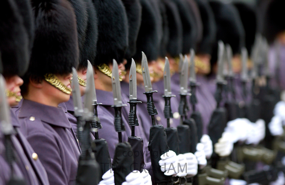 Grenadier guardson parade with bayonets on rifles, London