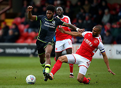 Ellis Harrison of Bristol Rovers is tackled by Nathan Pond of Fleetwood Town - Mandatory by-line: Robbie Stephenson/JMP - 02/04/2018 - FOOTBALL - Highbury Stadium - Fleetwood, England - Fleetwood Town v Bristol Rovers - Sky Bet League One