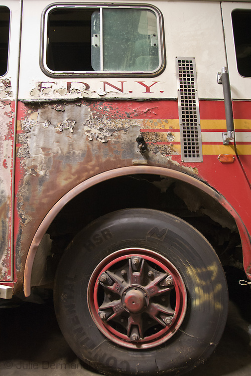 Detail of a destroyed emergency response vehicle that is part of a collection of artifacts saved from the site of the World Trade Center after 9/11. Artifacts chosen by curators out of the wreckage  from the World trade Center  stored within an 80,000 square foot hanger at JFK airport. Some of the artifacts will be in the National September 11 Memorial Museum set to open in 2012.