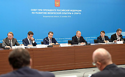 October 11, 2016 - Kovrov, Vladimir Region, Russia - October 11, 2016. - Russia, Vladimir Region, Kovrov. - Russian President Vladimir Putin chairs a meeting of the Presidential Council for the Development of Physical Culture and Sports in Kovrov. (Credit Image: © Russian Look via ZUMA Wire)