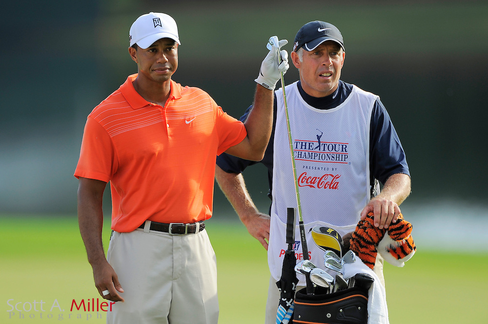 Lucas Glover (USA) and his caddie Steve Williams on the 17th hole during the second round of the PGA Tour Championship at East Lake Golf Club on Sept. 25, 2009 in Decatur, Ga.     ..©2009 Scott A. Miller