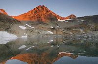 Black Peak reflected in Wing Lake at sunrise, North Cascades Washington