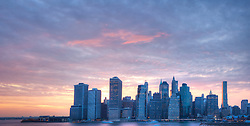 Panorama of Lower Manhattan skyline, New York