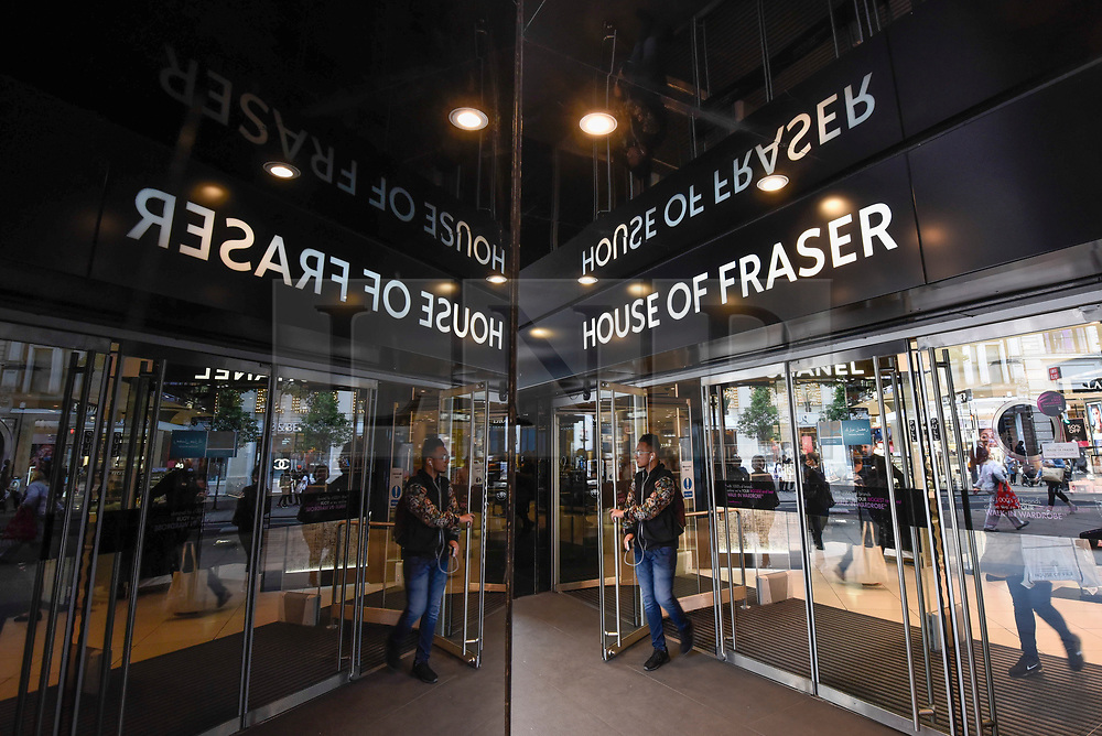 © Licensed to London News Pictures. 07/06/2018. LONDON, UK.  Entrance signage of the flagship store of House of Fraser in Oxford Street.  It is reported that the department store chain House of Fraser plans to close 31 of its 59 stores, with 6,000 jobs affected.  The flagship store will close in early 2019 as a result of the rescue deal which requires approval by 75% of its creditors as part of company voluntary arrangements.  Photo credit: Stephen Chung/LNP