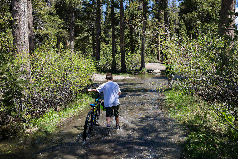 A slow start to summer in the Eastern Sierras as record snowfall carried over into the summer months. The waterfall into Twin Lakes in Mammoth and the flooded campgrounds.