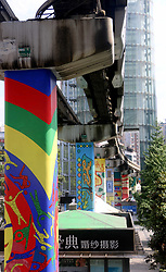August 16, 2017 - Chongqin, Chongqin, China - Chongqing, CHINA-16th August 2017: (EDITORIAL USE ONLY. CHINA OUT)..Colorful pillars of light rail system can be seen in southwest China's Chongqing, adding luster to the city with street art. (Credit Image: © SIPA Asia via ZUMA Wire)