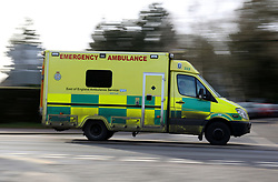 File photo dated 26/01/15 of an ambulance. A report commissioned by the Department for Transport has warned that new technology which automatically contacts emergency services after a car crash could lead to ambulances rushing to accidents when they are not needed.