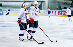 David Rodman and Ziga Pavlin during practice session of Slovenian National Ice Hockey team first time in Arena Stozice before 2012 IIHF World Championship DIV I Group A in Slovenia, on April 13, 2012, in Arena Stozice, Ljubljana, Slovenia. (Photo by Vid Ponikvar / Sportida.com)