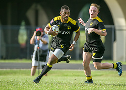 May 26, 2018 - Houston, TX, U.S. - HOUSTON, TX - MAY 26:  Houston SaberCats wing Josua Vici (11) carries the ball during the Major League Rugby match between the Utah Warriors and Houston SaberCats on May 26, 2018 at Dyer Stadium in Houston, Texas.  (Photo by Leslie Plaza Johnson/Icon Sportswire) (Credit Image: © Leslie Plaza Johnson/Icon SMI via ZUMA Press)