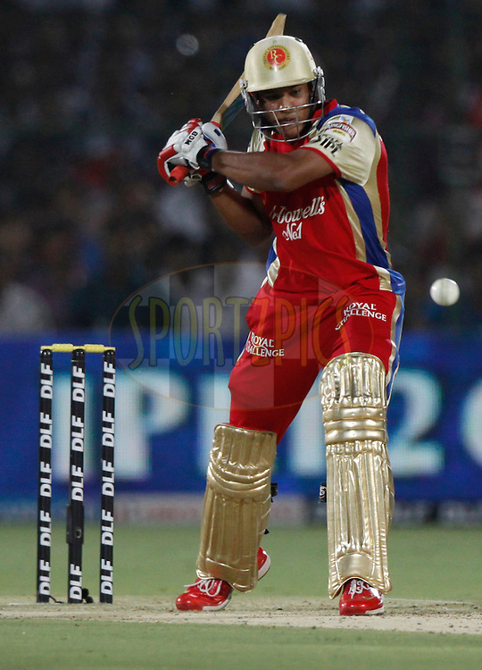 Royal Challengers Bangalore player Mayank Agarwal play a shot  during match 30 of the the Indian Premier League ( IPL) 2012  between The Rajasthan Royals and the Royal Challengers Bangalore held at the Sawai Mansingh Stadium in Jaipur on the 23rd April 2012..Photo by Pankaj Nangia/IPL/SPORTZPICS