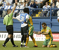 Photo: Aidan Ellis.<br /> Sheffield Wednesday v Norwich City. Coca Cola Championship. 06/05/2007.<br /> Norwich's Darren Huckerby recieves a yelloow card for diving